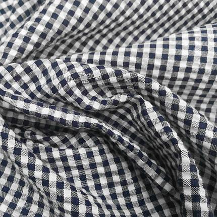Рубашечная ткань клетка 5мм темно-синяя с белой, фото 2
