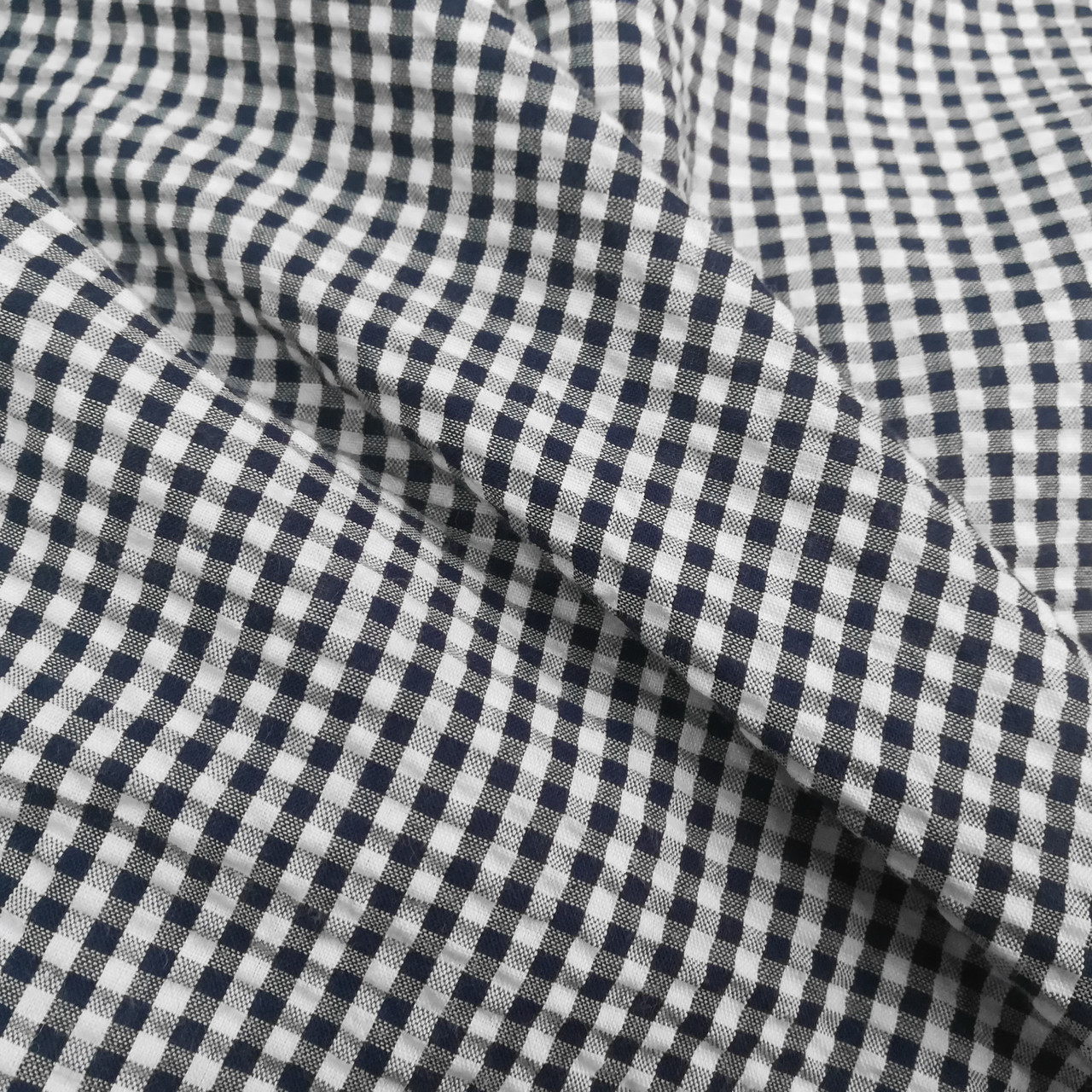 Рубашечная ткань клетка 5мм темно-синяя с белой