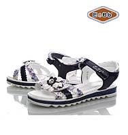 Босоножки, сандалии нарядные для девочки р.31-36 ТМ EeBb  1045-4 d/blue-white