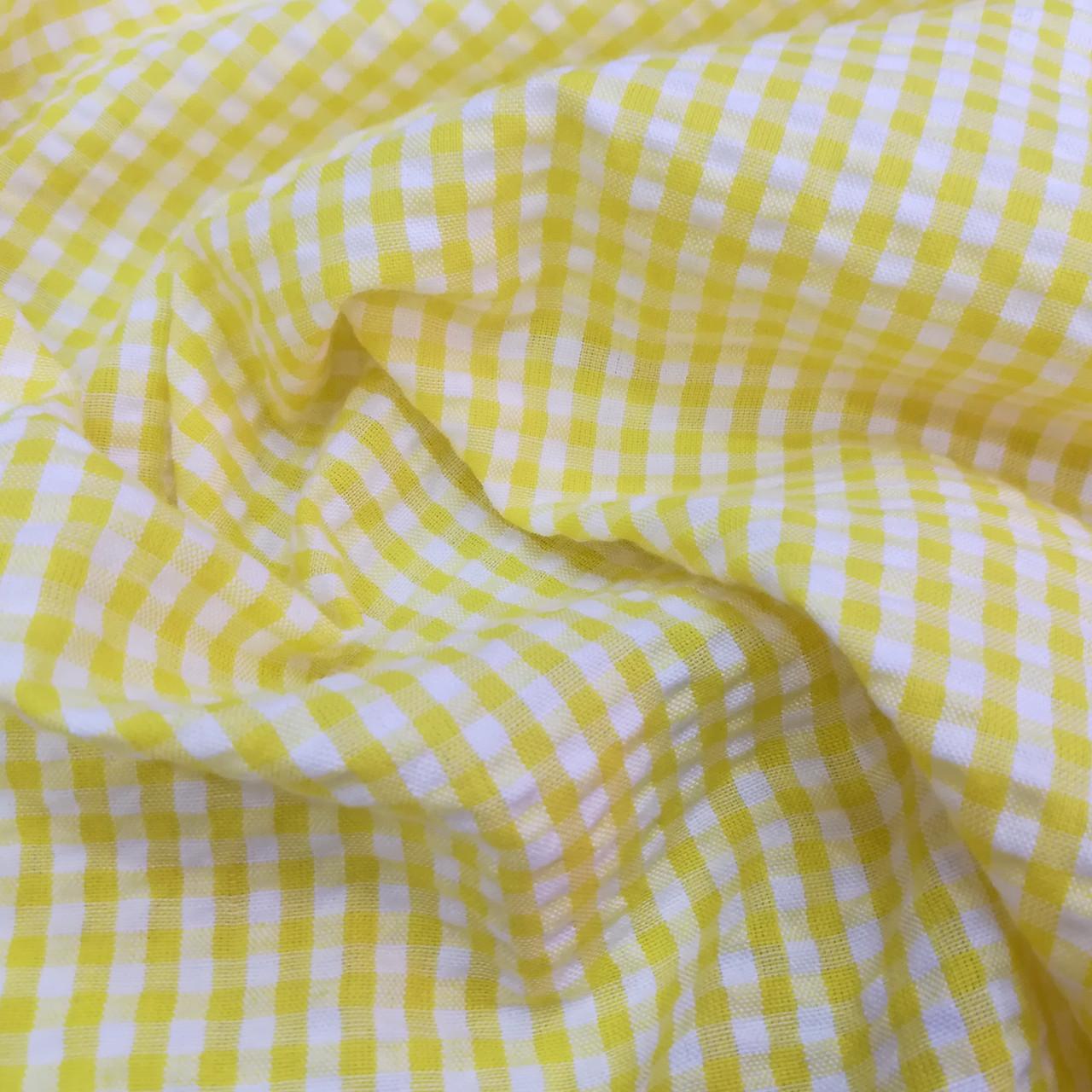 Рубашечная ткань клетка 5мм желтая с белой