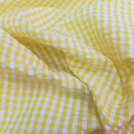 Рубашечная ткань клетка 5мм желтая с белой, фото 2