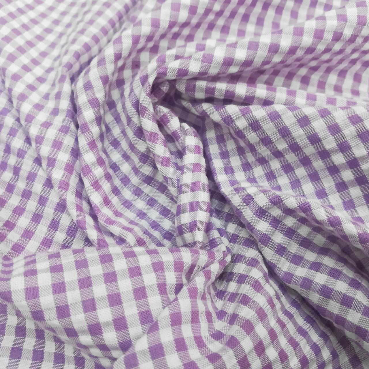 Рубашечная ткань клетка 5мм сиреневая с белой