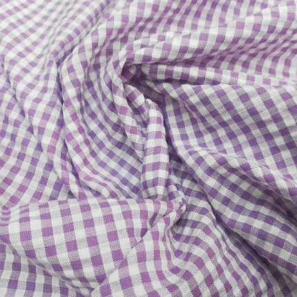 Рубашечная ткань клетка 5мм сиреневая с белой, фото 2