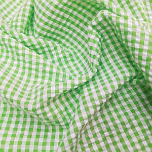 Рубашечная ткань клетка 5мм салатовая с белой