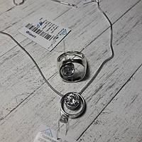 Серебряный комплект, кольцо с подвесом