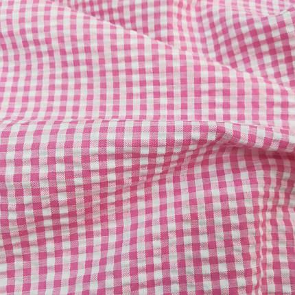 Рубашечная ткань клетка 5мм малиновая с белой, фото 2