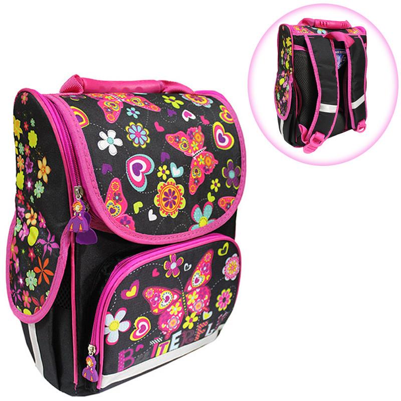 7a85d2a93e11 Ранец (рюкзак) - короб ортопедический для девочки - Бабочки (стильный  черный с розовым