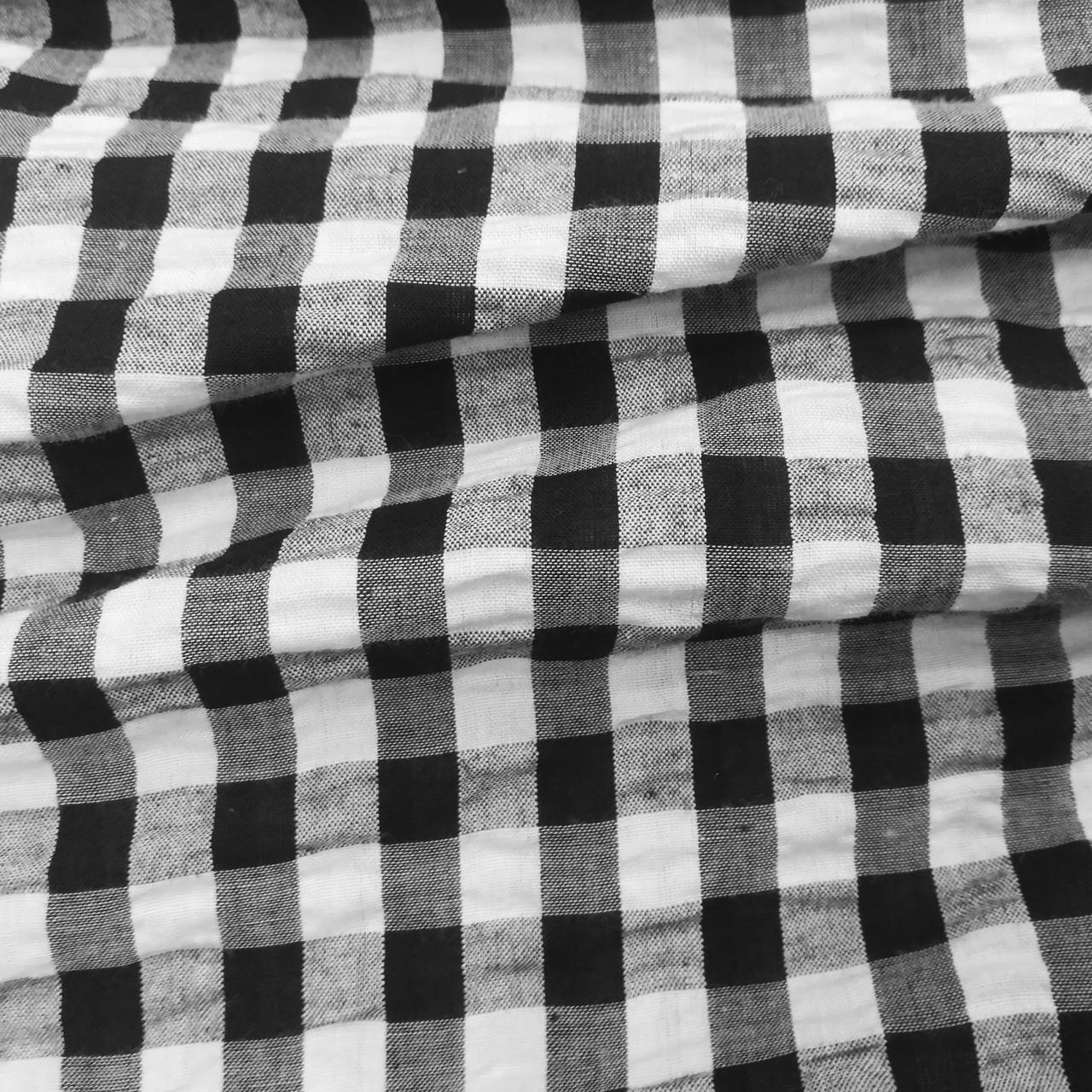 Рубашечная ткань клетка 10мм черная с белой