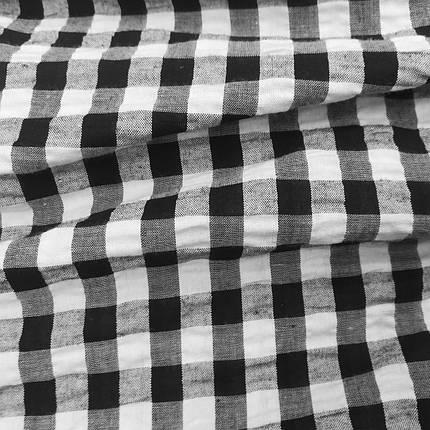 Рубашечная ткань клетка 10мм черная с белой, фото 2