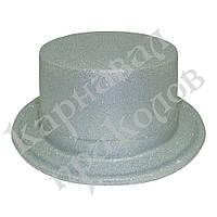 Шляпа детская Цилиндр блестящая (серебро)