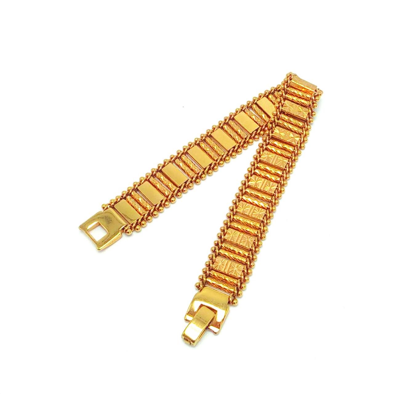 Широкий позолоченный браслет необычного плетения