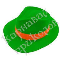 Шляпа Мужская пластик с лентой (зеленая)