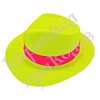 Шляпа Мужская пластик с лентой (желтая)