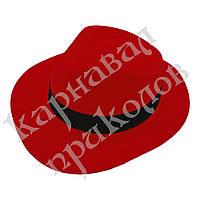Шляпа Мужская пластик с лентой (красная)