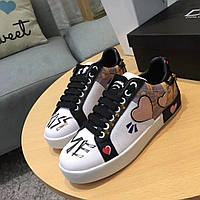 Dolce & Gabbana разноцветные кожаные кроссовки с принтом
