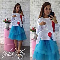 Комплект одежды для мамы с дочкой с фатиновым низом и белым верхом tez282107