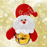 Подвеска бубенчик Дед Мороз (золото)