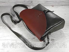 90-к Сумка женская натуральная кожа, комбинированная хаки/кирпич, фото 3