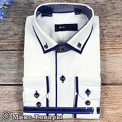 Сорочка білого кольору з синьою окантовкою для хлопчика (Воріт: 28 - 36) (vk88a1-2)