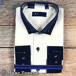Біла сорочка з синім коміром для хлопчика шкільний вік (Воріт: 28 - 36) (vk97a1-1)