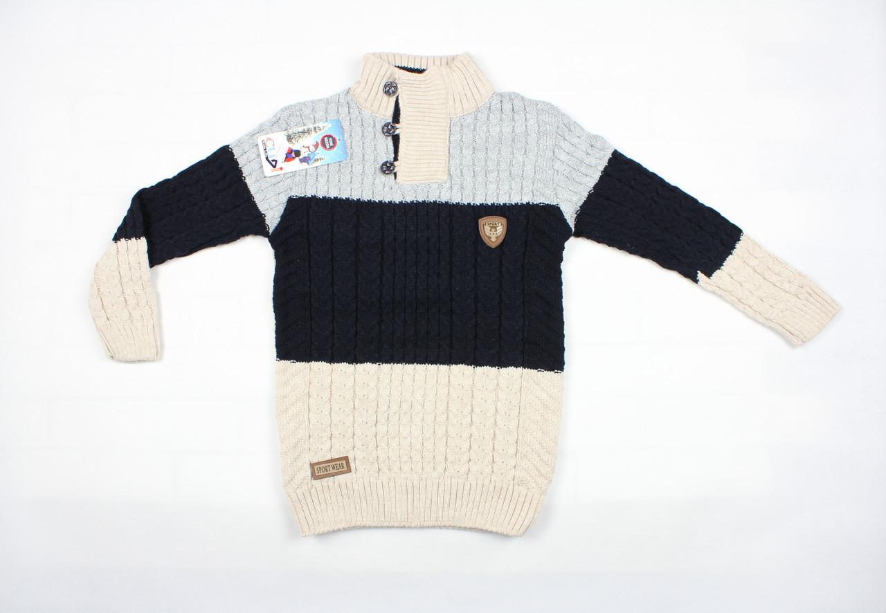 Теплый вязаный свитер под горло трехцветный для мальчика