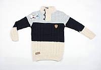 Теплый вязаный свитер под горло трехцветный для мальчика, фото 1