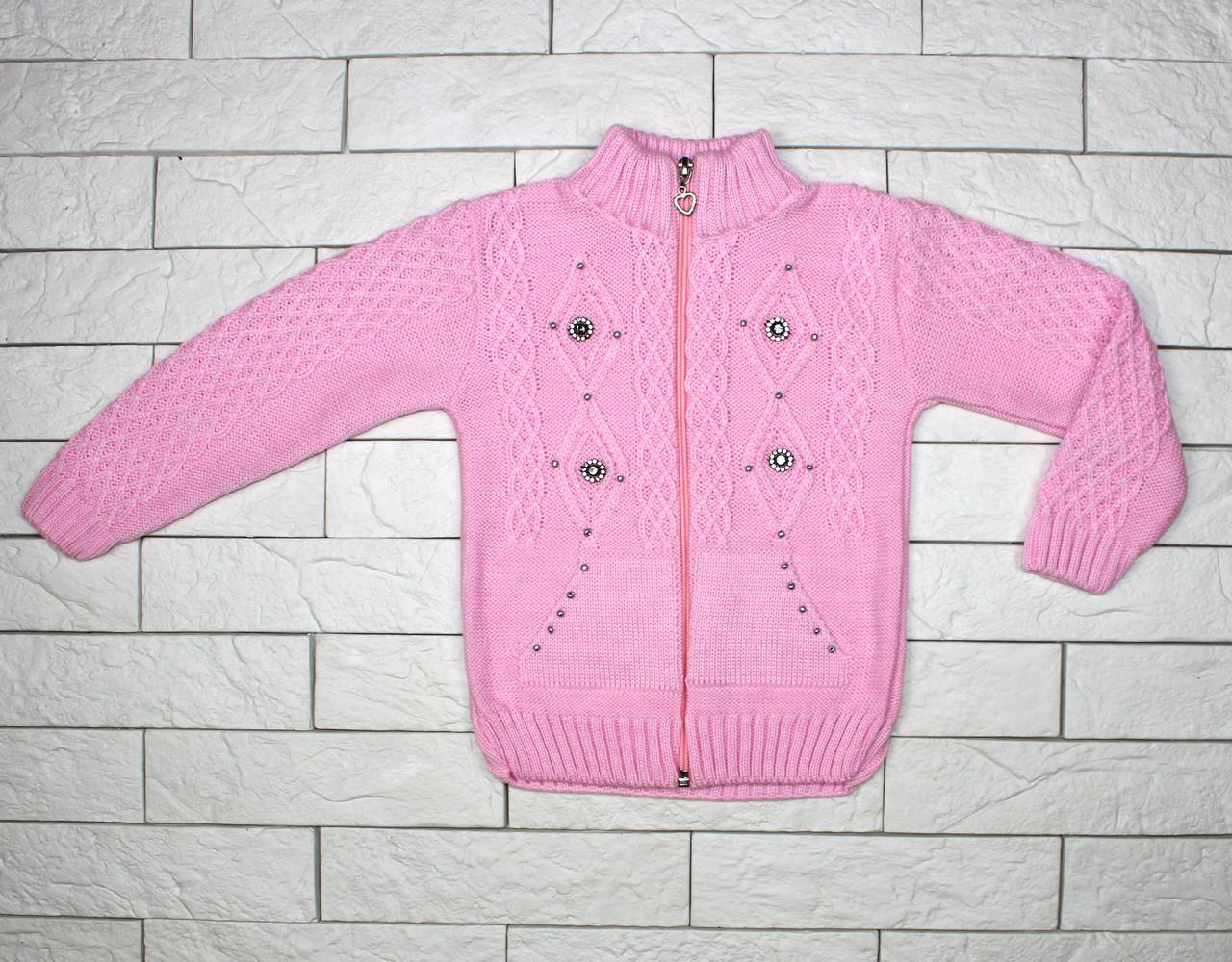 Теплая розовая кофта вязаная на молнии для девочки