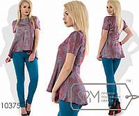 Костюм-двойка - блуза-беби-долл из тафты с короткими рукавами и асимметричной оборкой плюс облегающие брюки из поливискозы 10375