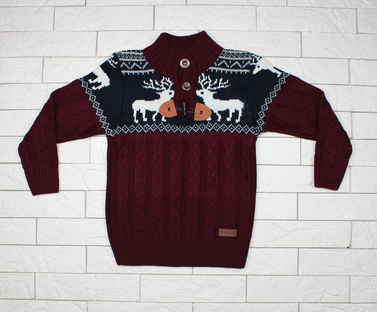 Теплый темно-бордовый свитер с оленями для мальчика