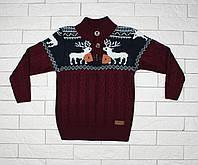 Теплый темно-бордовый свитер с оленями для мальчика, фото 1