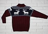 Теплый темно-бордовый свитер с оленями для мальчика, фото 3