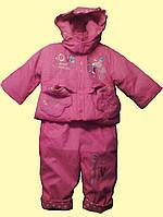 Комбинезон и куртка теплые для девочки, розовые, 80 см (12 мес)