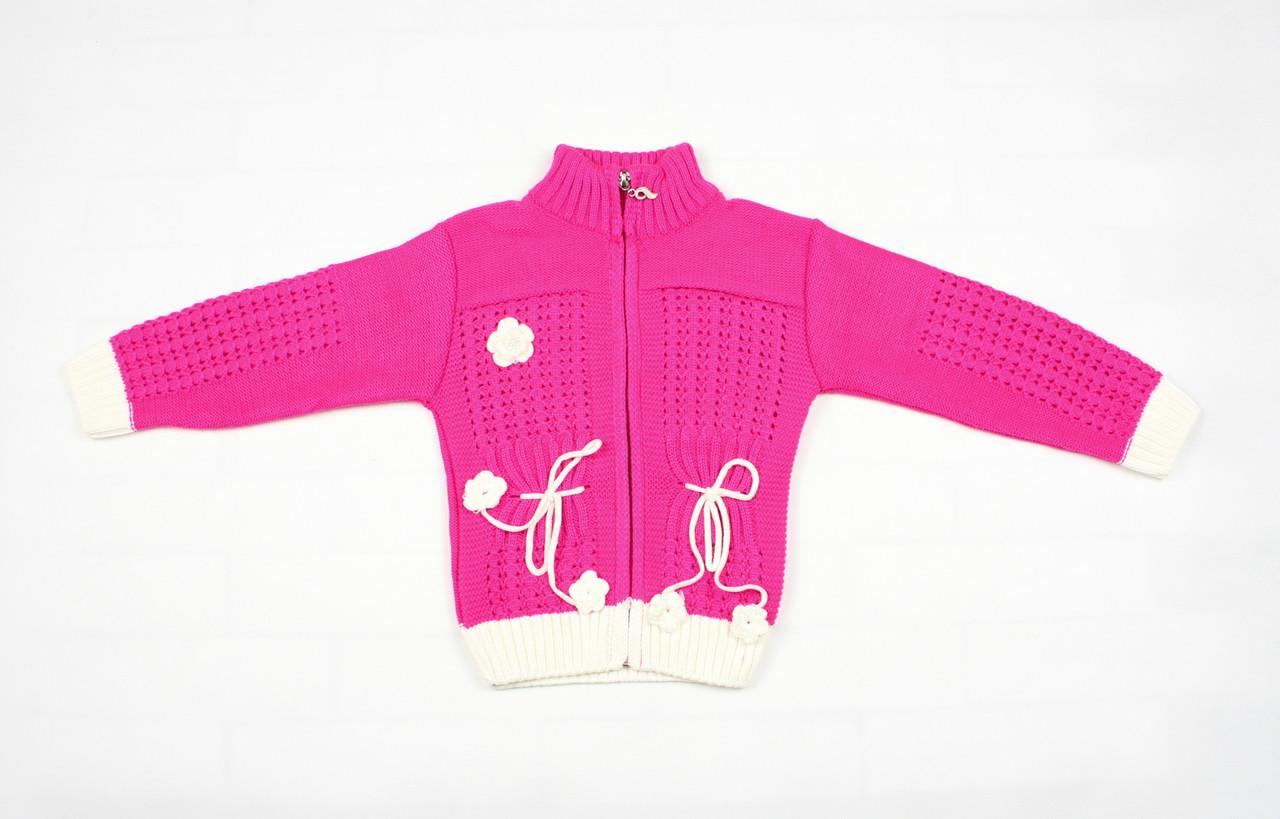 Теплый малиновый свитер на молнии для девочки