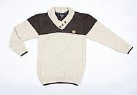Теплый вязаный свитер бежево-коричневого цвета для мальчика