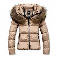 Жіноча зимова куртка-пуховик з хутряним коміром, фото 1