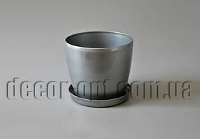 Пластиковый горшок глянцевый Магнолия с подставкой Ø12см/10,5см