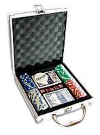 Покерный набор в алюминиевом кейсе (2 колоды карт + 100 фишек)(23х20,5х6,5 см)