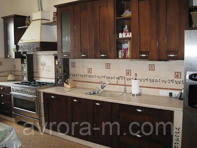 Заказать встроенную кухню со столешницей из керамической плитки