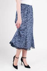 Летняя синяя юбка-клеш из легкого материала софт, увеличенных размеров