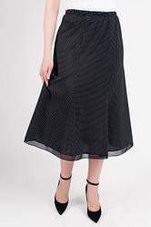 Легкая летняя юбка-батал в горошек, черного цвета