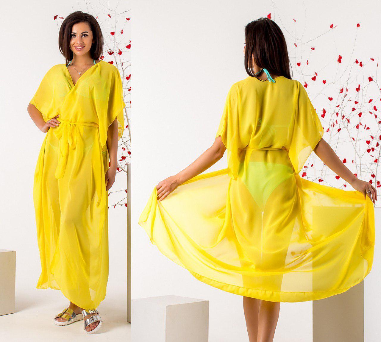 9b363b97c18 Удлиненная желтая женская шифоновая туника на запах под пояс. Арт -  6705 52