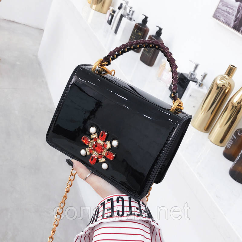 d43a62ba7f81 Черная лаковая сумка со стразами: продажа, цена в Києві. сумки ...