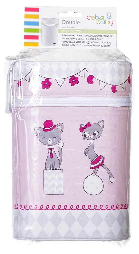 Термоконтейнер Ceba Baby Double 85*155*230мм*2шт бутылочки белый-розовый (две кошечки)