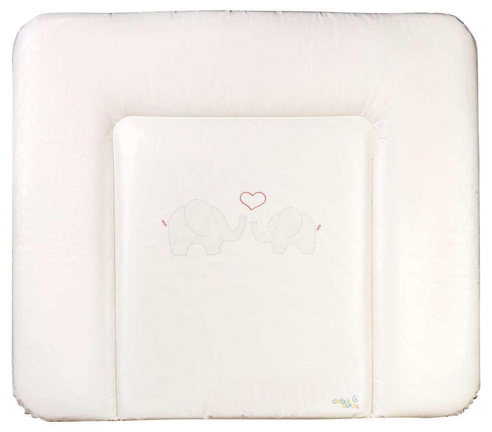 Пеленальный матрас Ceba Baby WD 85*70 multi Слоны с сердцем белый