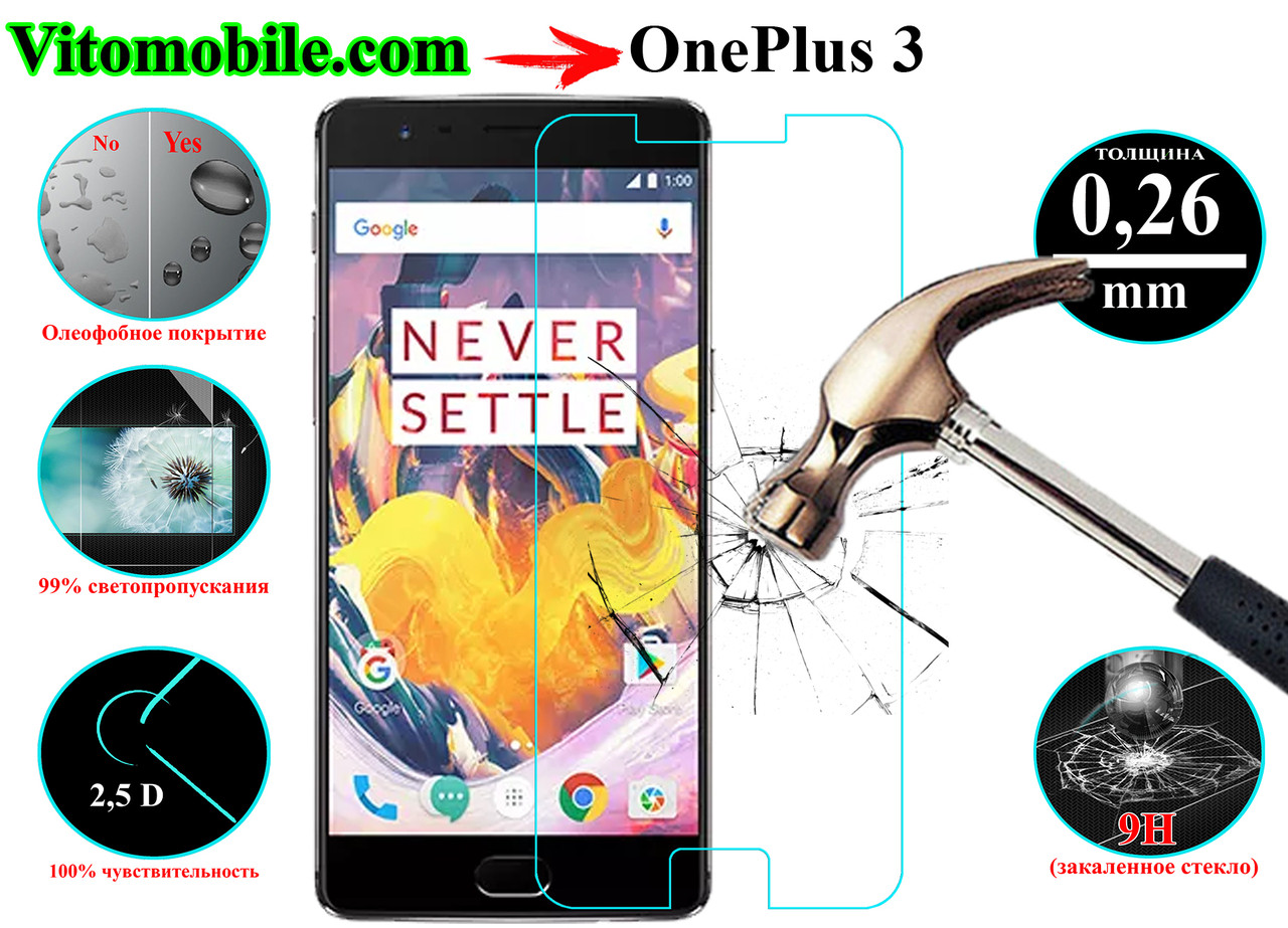 Защитное стекло оригинальное OnePlus 3 2,5D / закругленные края / олео