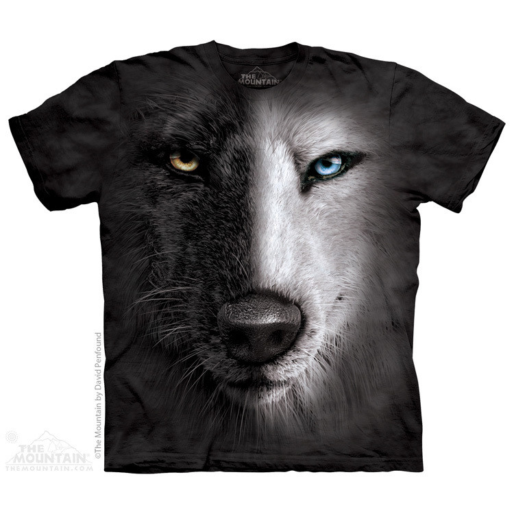 Футболка The Mountain - Black And White Wolf Face