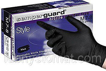 Перчатки Semper Guard Nitrile чёрные нитриловые  ( S  ) 50 пар