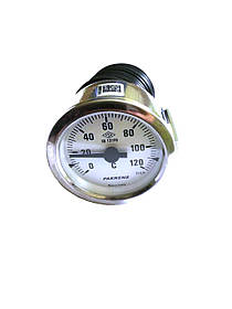 Термометр капиллярный Pakkens ø60мм / длинна капиллярный 1м / Tmax=120°С / Турция