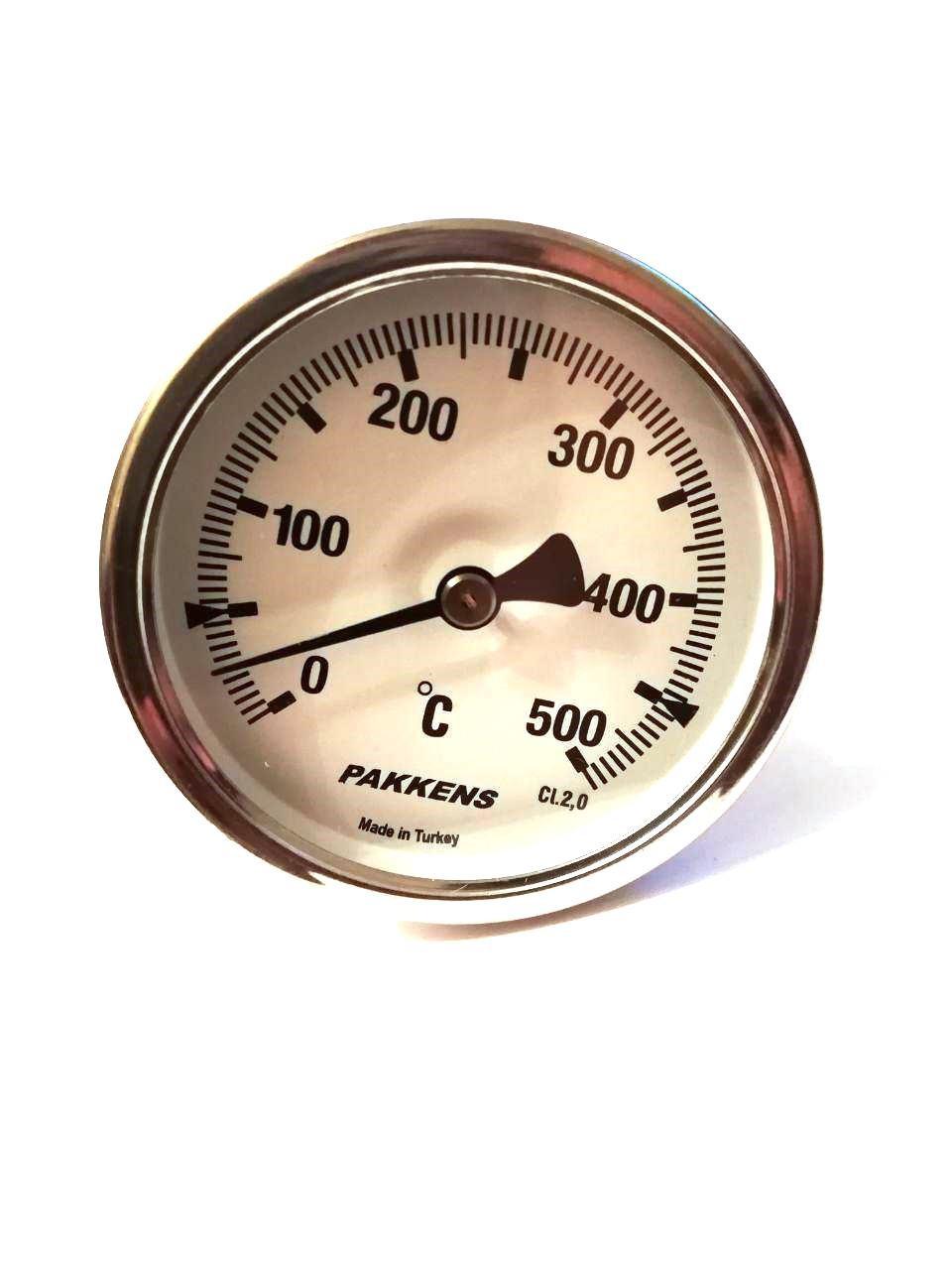 "Термометр биметаллический Pakkens ø63мм / Tmax=500°С / резьба 1/2"" / Турция"