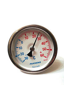 Термометр биметаллический Pakkens ø63мм / Tmax от -30 до 60°С / гильза L=50мм / Турция